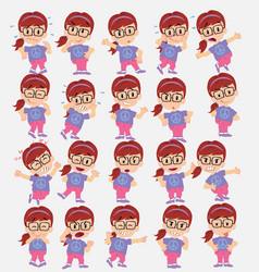 Cartoon character white girl with glasses set vector