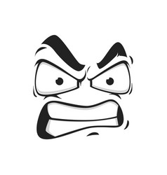 Cartoon face icon emoji with angry eyes vector