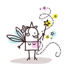 Cartoon fairy with magic wand vector