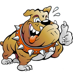 Cartoon of an excited Strong Muscular Bull Dog vector image