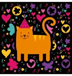 Cat birthday card icon vector
