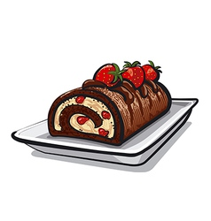 Chocolate roll cake with strawberry vector