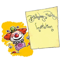 Clown Holding Invitation Birthday Party vector image