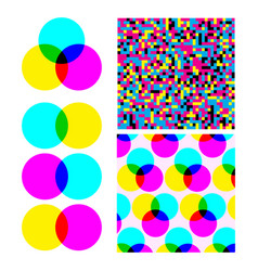 cmyk subtractive mixed color model set vector image