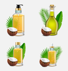 Coconut oil bottle set realistic vector