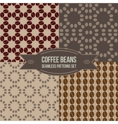 Coffee beans seamless patterns set vector image