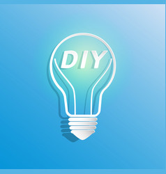 Diy in light bulb shape vector