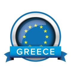 EU flag button with Greece ribbon vector image
