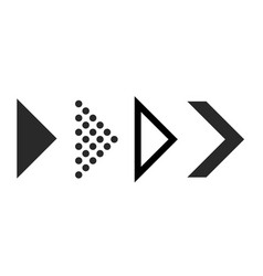 flat arrows for interface right black arrows for vector image
