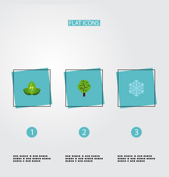 flat icons eco energy wood winter snow and other vector image