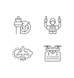 Flight dispatch linear icons set vector
