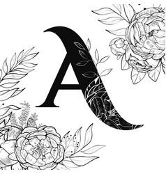Flower alphabet letter a pattern vector