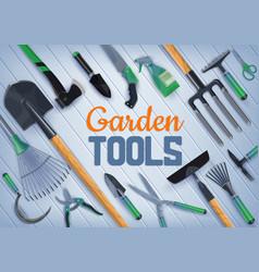 Garden shovel fork axe scissors farm tools vector