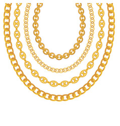 gold chain jewelry on white background vector image