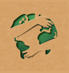 green earth map paper cut hug concept isolated vector image