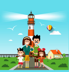 happy family with lighthouse on background vector image