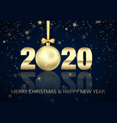 happy new year and merry christmas poster with vector image