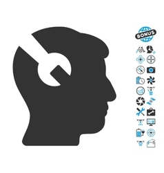 Head Surgery Wrench Icon With Air Drone Tools vector