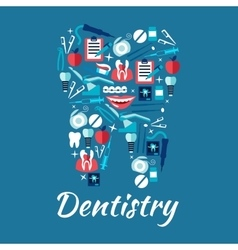Healthy tooth symbol with dentistry flat icons vector image