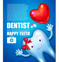 Helthy tooth with shining toothpaste cartoon vector