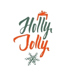 Holly Jolly Merry Christmas Hand Drawn vector