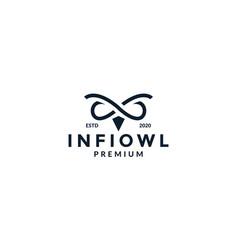 Infinity eyes bird owl logo design vector