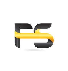Joined or connected fs f s yellow black alphabet vector