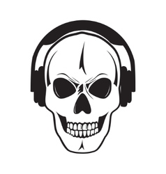 Jolly skull with headphones Isolated object vector image