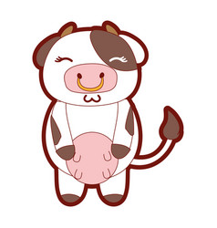 Line color cute and shy cow wild animal vector