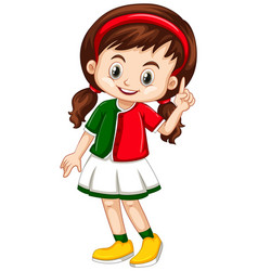 Little girl in green and red shirt vector