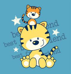 little kitten best friend cartoon vector image