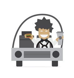 Man eating in car vector