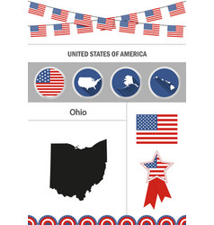 map of ohio set of flat design icons nfographics vector image