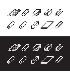 Metallurgy products icons set Metal vector