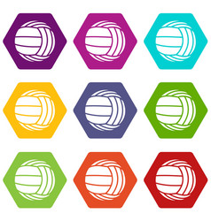 modern volleyball icons set 9 vector image