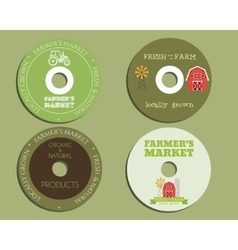 Organic farm CD DVD templates sign icon vector