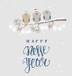 Owls holidays vector
