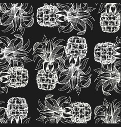 pineapple seamless pattern hand drawn tropical vector image