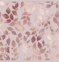 Rose gold elegant texture with a floral pattern vector