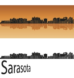 Sarasota skyline in orange vector