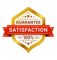 Satisfaction guaranteed badge with ribbon stars vector