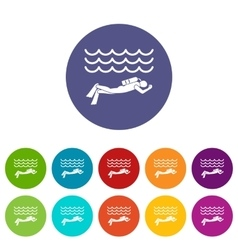 Scuba diver man in diving suit set icons vector image