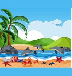 sea creature at beach vector image