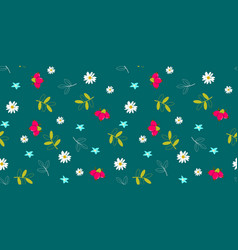 Seamless floral pattern on green background vector