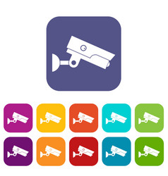 Security camera icons set flat vector