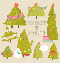 set cartoon christmas trees merry christmas vector image