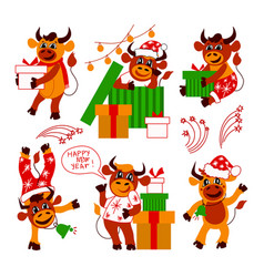Set cute christmas bulls happy new year vector