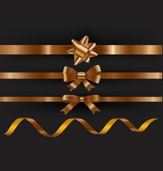 set decorative golden ribbons on black vector image