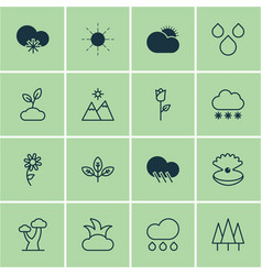 set of 16 nature icons includes sprout raindrop vector image