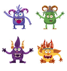 Set of cute funny characters troll bigfoot yeti vector
